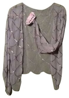 Awake Couture Silver Sequin Shrug Style #a2180zrgk Sleeved Sheer Sequin Patterned Shrug Top 63% off retail
