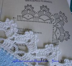 """Crochet Lace edging ~~ Agulhas e Pinceis: Barrados [   """"Fabyta tejidos crochet added 171 new photos to the album: Puntillas y guardas de la web con patron — with Silvia Nancy Aiza Puma."""",   """"Agulhas e Pinceis: Biquinhos simples (Crochet edgings with instructions in Portuguese but with international diagram) Mais"""",   """"Free weblog publishing tool from Google, for sharing text, photos and video."""",   """"Pointed Scallops edging with corner .... charted pattern."""",   """"tigisi oya ornekleri diagram…"""
