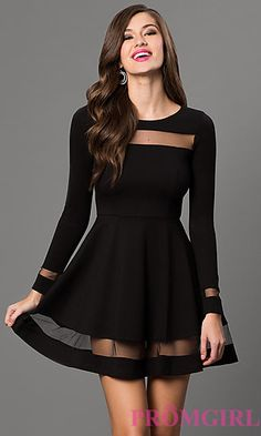 Long Sleeve Short Black Dress with Sheer Detailing at PromGirl.com