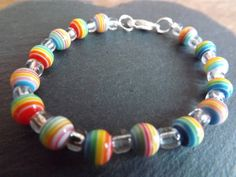 "Children's Rainbow Beaded Bracelet ""BC7"" £3.00"
