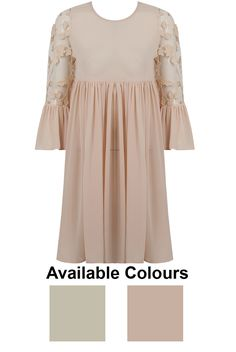 Pleated Floral Net Bell Sleeve Skater Dress - 2 Colours - Buy Fashion Wholesale in The UK