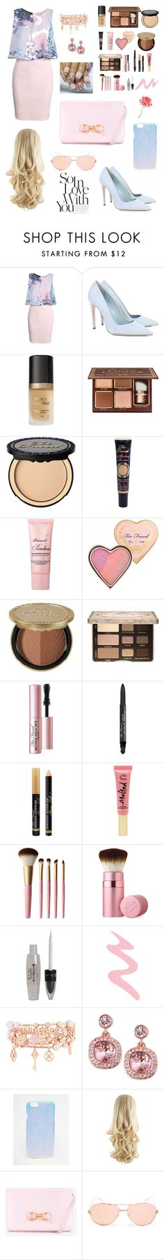 """""""Pretty Pastels"""" by vavavoom02 ❤ liked on Polyvore featuring Boohoo, Dee Keller, Too Faced Cosmetics, Henri Bendel, Givenchy, ASOS, Ted Baker, Linda Farrow, Universal Lighting and Decor and women's clothing"""