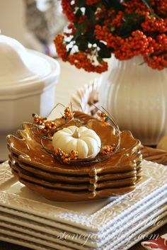 Thanksgiving Table Decor  I have these little leaf plates and they are so adorable  for  side dishes  and  candies, nuts or other treats.....even a  bread and butter plate !