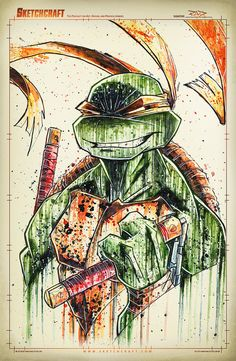 TMNT Saucy Mikey Watercolor & Ink - Photoshop for color adjustments. Teenage Mutant Ninja Turtles, Ninja Turtles Art, Tmnt, Comic Books Art, Comic Art, Gi Joe, Michelangelo, Anime, Sketches