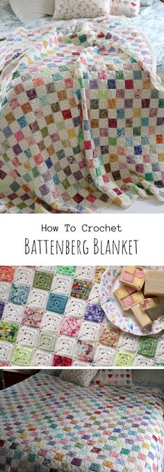 Crochet Battenberg Blanket For those looking for new baby blanket models, it is my pleasure to pr. Scrap Yarn Crochet, Crochet Needles, Crochet Crafts, Crochet Projects, Knit Crochet, Crochet Ideas, Yarn Projects, Crochet Squares, Crochet Blanket Patterns