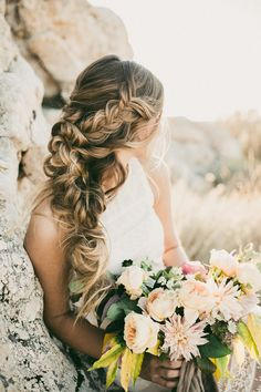 These pretty wedding hairstyles form Hair & Makeup by Steph are all we could ever want when it comes to bridal beauty. This Utah-based stylist does the best job of making each braid and updo seriously Wedding Hair And Makeup, Hair Makeup, Loose Wedding Hair, Romantic Wedding Hair, Long Hair Wedding Styles, Perfect Wedding, Easy Wedding Guest Hairstyles, Bridal Hairstyles, Hairstyle Wedding