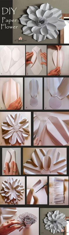 Make your own giant paper flower!  Create breathtaking backdrops for any event.  Template and step-by-step directions provided to make this over the top decor piece.