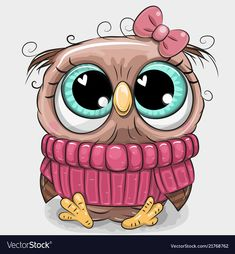 Cute owl in pink sweater. Cute cartoon owl in pink sweater with a bow vector illustration Cute Owl Cartoon, Cute Cartoon Characters, Cartoon Kunst, Cartoon Art, Cute Animal Drawings, Cute Drawings, Cute Owl Drawing, Cartoon Mignon, Art Mignon