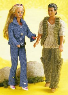 Knitting Pattern Barbie Doll Jeans and Jacket & Ken/ Man Doll Combat Suit PDF Instant Download
