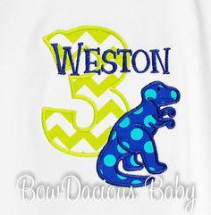 T Rex Birthday Shirt Dinosuar Birthday Number by bowdaciousbaby