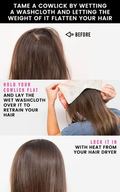 hair hair hacks 22 Life-Saving Beauty Hacks to Cowlick Hairstyles, Messy Bun Hairstyles, Headband Hairstyles, Diy Hairstyles, Style Hairstyle, Hairstyles For Greasy Hair, Double Crown Hairstyles, Pixie Headband, Oily Hair