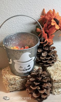 Use our transfer stickers to create a cute candy corn bucket for your desk this Halloween season!!! Cute Candy, Halloween Stickers, Diy Stickers, Halloween Season, Candy Corn, Special Occasion, Candle Holders, Bucket, Desk