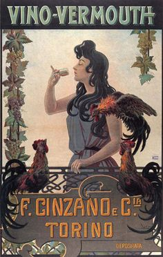 Vintage Italian Posters ~ #Italian #vintage #poster ~ Cinzano Vino-Vermouth Torino Italy Italia
