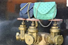 Loving these product shots from last weeks Downtown shoots. The Hannah Crossbody in Navy Croco and Teal Pyramid