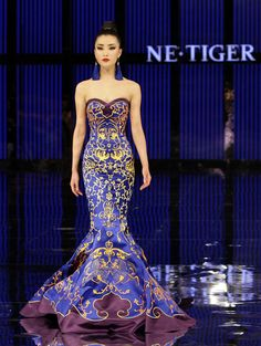 Royal blue creation for the NE TIGER 2012 Haute Couture