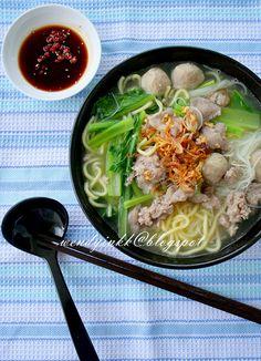 Table for or more: Pork Noodle ~ Chu Yoke Fun - Soupy Noodles Pork Noodle Soup, Pork Noodles, Noodle Soups, Asian Noodles, Ramen Noodle, Rice Noodles, Asian Noodle Recipes, Asian Recipes, Ethnic Recipes
