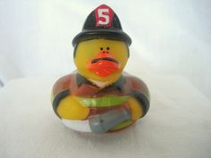 "Rubber Duck FIREMAN #5 Gear Hose Mustache Duckie NEW 2"" Fire Men Ducky FreeShip+"