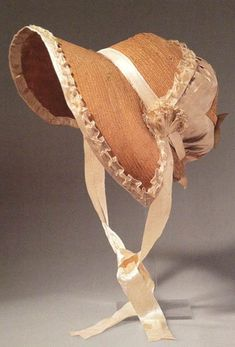 Straw bonnet with silk ribbons. Luise, Kleider der Konigen 1810.