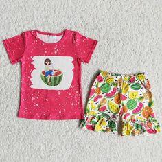 Girl Fuchsia Watermelon Shorts Outfit - 7-8T