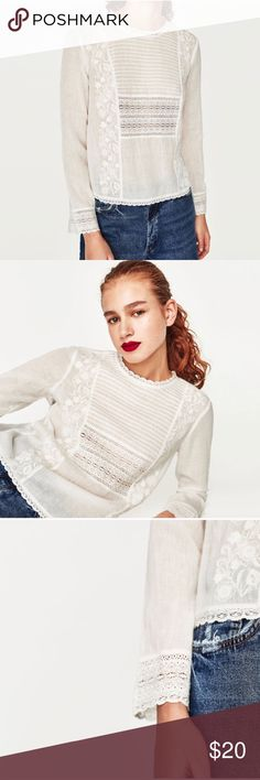 Zara Embroidered White Long Sleeve Crochet Blouse Size small. Excellent condition. Fits true to size. Zara Tops Blouses