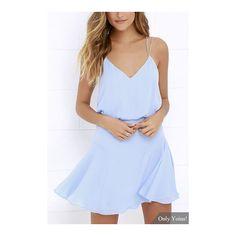 Yoins Sleeveless V-neck Mini Dress (125 HRK) ❤ liked on Polyvore featuring dresses, blue dress, v neck mini dress, sleeveless short dress, no sleeve dress and short blue dresses