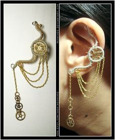 Steampunk Dangly Wheel ear cuff by Meowchee on Etsy, $23.00