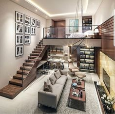 Small Homes That Use Lofts To Gain More Floor Space - Traumhaus Loft Design, Design Case, Condo Design, Design Bedroom, Design Design, Loft Stil, Small Living Rooms, Condo Living Room, Tiny Living