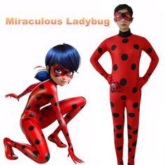 2017 Kids Adult Miraculous Ladybug Cosplay Costume With Mask Ladybug Romper Costume Cat Suit Halloween Women Ladybug dress