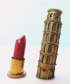 Leaning Tower of Pisa lipstick case (c.1950). Gold plated and available in 1962 at Louis Nichilo, Rome. via The Gallery of Object-Lessons Past