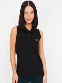 Bossini Women Black Solid Polo Collar T-shirt