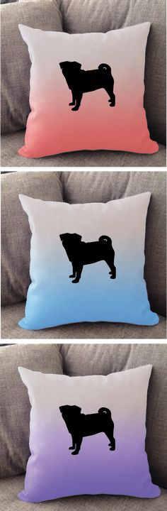 Pug Ombré throw pillow. Offered in multiple colors and 50+ dog breeds. Cover is machine washable and Made in USA.