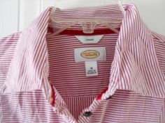 Talbots Stretch Button Front Long Sleeve Red & White Stripe Blouse Shirt Size M  #Talbots #ButtonDownShirt #Casual