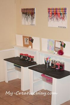 @Jessica Meyer My Creative Way: Kids Art Center Tables.  For art area