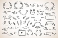 Cute hand drawn design elements: flowers, wreaths, banners, ribbons made in vector Filofax, How To Draw Ribbon, Banner Drawing, Hipster Art, Freebies, Drawing Websites, Hand Sketch, Floral Illustrations, Bullet Journal Inspiration