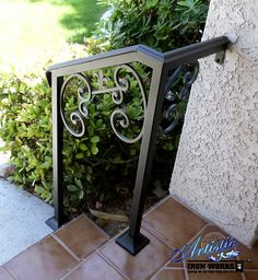 Photo of Artistic Iron Works - Las Vegas, NV, United States. Wrought iron stair railings with Fleur de Lis finial Outside Stair Railing, Exterior Stair Railing, Outdoor Stair Railing, Porch Handrails, Front Porch Railings, Iron Handrails, Iron Railings, Banisters, Wrought Iron Stair Railing