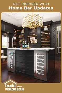 Home Bar Decor, Home Decor Kitchen, Condo Kitchen, Living Room Built Ins, Living Room Bar, Basement Bar Designs, Design My Kitchen, Modern Home Bar, Beautiful Kitchen Designs