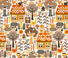 Autumn Cottage Garden fabric by christinewitte on Spoonflower - custom fabric
