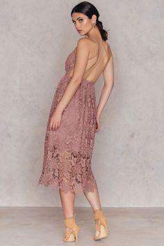 Crochet Strap Back Dress Dusty Light Pink