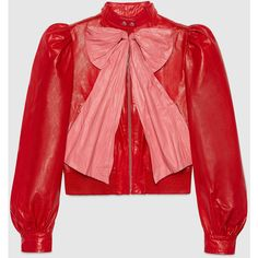 Gucci Leather Jacket With Bow (€3.315) ❤ liked on Polyvore featuring outerwear, jackets, gucci, tops, outerwear & leather jackets, ready to wear, women, leather jackets, puff shoulder jacket and red jacket