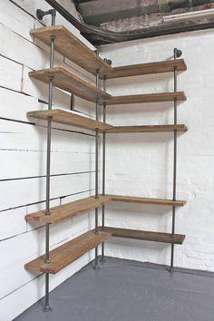 reclaimed scaffolding board corner shelving unit by inspirit   notonthehighstreet.com