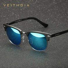 VEITHDIA Unisex Retro Aluminum Magnesium Sunglasses Polarized Mirror Vintage Outdoor Eyewear Accessories Sun Glasses 6690 (Blue)