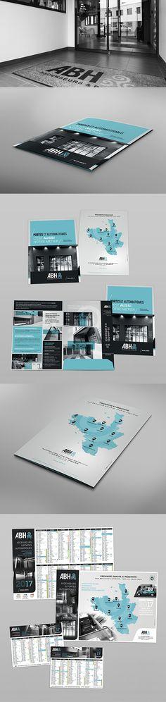 Pochette commerciale et calendriers pour ABH, société rennaise spécialisée dans l'installation, la maintenance et la mise aux normes d'ascenseurs et de portes automatisées. #pochette #calendrier