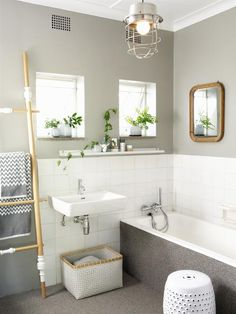 Badezimmergestaltung in Grau und Weiß