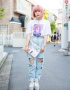 Pink-Haired Harajuku Girl in The 1975 Band Tee, Ripped Denim & Devilish Harness