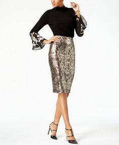 Alfani Metallic Pencil Skirt, Created for Macy's | macys.com