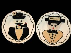 Vintage Ma And Pa Collectible Plates, Collector Plates, Wall Decor Plates, Couples Plates, Felt Folk Art Plates, Vintage Collectibles by VintageCastaways on Etsy