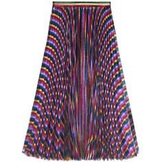 Gucci Iridescent Pleated Skirt ($1,980) ❤ liked on Polyvore featuring skirts, multicolor, knee length pleated skirt, colorful skirts, rainbow skirt, striped pleated skirt and iridescent skirt