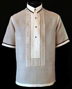 Short Sleeves Barong Tagalog - Barongs R us Barong Tagalog Wedding, Filipiniana Dress, Line Shopping, Formal Shirts, All About Fashion, Embroidery Stitches, Lace Dress, Short Sleeves, Mens Fashion
