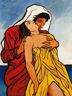 Hombre y mujer a la orilla del mar, Oil by Francis Picabia (1879-1953, France)