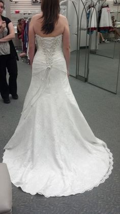 David's Bridal Strapless Lace Fit-and-flare Gown With Side Splitstyle Yp3344